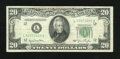 Error Notes:Obstruction Errors, Fr. 2059-L $20 1950 Federal Reserve Note. Very Fine.. ...