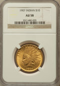 Indian Eagles: , 1907 $10 No Periods AU58 NGC. NGC Census: (839/5038). PCGSPopulation (880/4559). Mintage: 239,400. Numismedia Wsl. Price f...