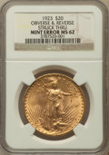 Saint-Gaudens Double Eagles, 1923 $20 -- Obverse and Reverse Struck Through -- MS62 NGC....
