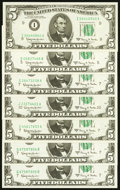A Selection of Seven Fr. 1968 $5 1963A Federal Reserve Notes. Crisp Uncirculated-Gem Crisp Uncirculated