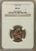 Jefferson Nickels: , 1954-S 5C MS66 NGC. NGC Census: (160/19). PCGS Population (79/0).Mintage: 29,384,000. Numismedia Wsl. Price for problem fr...