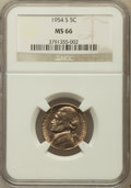 Jefferson Nickels: , 1954-S 5C MS66 NGC. NGC Census: (208/19). PCGS Population (79/0).Mintage: 29,384,000. Numismedia Wsl. Price for problem fr...