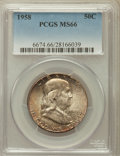 Franklin Half Dollars: , 1958 50C MS66 PCGS. PCGS Population (1512/35). NGC Census:(955/29). Mintage: 4,000,000. Numismedia Wsl. Price for problem ...