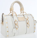 Luxury Accessories:Bags, Versace White Leather Vernice Boston Bag. ...