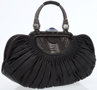 Christian Dior Black Ruched Leather Top Handle Bag with Antiqued Silver Hardware