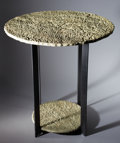 "Lapidary Art:Tables / Tabletops, ""PETRIFIED BEACH SAND"" TWO-TIER ROUND OCCASIONAL TABLE . Hartshorne Sandstone, Pennsylvanian Age, Haskell County, Oklahoma..."