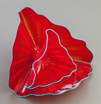 DALE CHIHULY (American, b. 1941) Tango Red Persian Pair, 2004 Handblown glass 7-3/4 x 12-1/4 x 10
