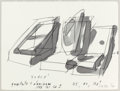 Post-War & Contemporary:Contemporary, MICHAEL HEIZER (American, b. 1944). 45, 90, 180 degrees,1982. Watercolor and pencil. 11-1/2 x 15 inches (29.2 x 38.1 cm...