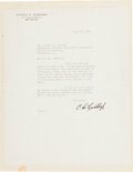 "Autographs:Celebrities, Charles Lindbergh Typed Letter Signed ""C. A. Lindbergh."" One page, 8.5"" x 11"", on his personal letterhead, New York, Apr..."