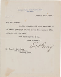 "Elbert Henry Gary Typed Letter Signed as Chairman of the Board of United States Steel Corporation ""E. H. Gary.""..."