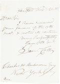 """Autographs:Inventors, Samuel Colt Autograph Letter Signed """"Saml. Colt."""" One page,4"""" x 5.75"""", on stationery embossed with the Colt """"dancing po..."""