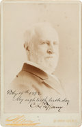 "Autographs:Celebrities, Charles Lewis Tiffany Cabinet Card Photograph Signed ""Feby 15,1892 My eightieth birthday C. L. Tiffany.""..."