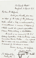 """Autographs:Inventors, Cyrus Field Letter Signed """"Cyrus W. Field.""""..."""