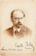 "Autographs:Authors, Emile Zola Cabinet Photograph Signed ""Emile Zola, Paris, 25 Mai 1902.""..."