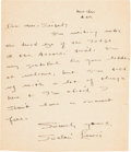 "Autographs:Authors, Sinclair Lewis Autograph Letter Signed ""Sinclair Lewis.""..."
