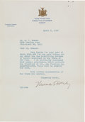 "Autographs:Statesmen, Thomas E. Dewey Typed Letter Signed as Governor of New York ""Thomas E. Dewey.""..."