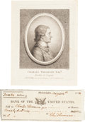 "Autographs:Statesmen, Charles Thomson Bank Check Signed ""Chal. Thomson.""... (Total: 2 Items)"