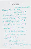 "Autographs:Authors, Langston Hughes Autograph Letter Signed ""LangstonHughes.""..."