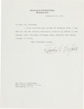 "Autographs:Statesmen, Charles Evans Hughes Typed Letter Signed as Chief Justice of theSupreme Court ""Charles E. Hughes.""..."