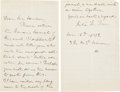 "Autographs:Celebrities, Julia Ward Howe Autograph Letter Signed ""Julia W. Howe.""..."