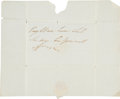"Autographs:Military Figures, Duke of Wellington Franking Signature ""Free, Wellington.""..."