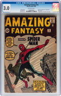 Silver Age (1956-1969):Superhero, Amazing Fantasy #15 (Marvel, 1962) CGC GD/VG 3.0 Off-white pages....