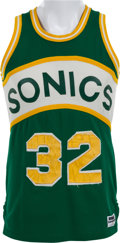 Basketball Collectibles:Uniforms, 1980-84 Downtown Fred Brown Game Worn Seattle Supersonics Jersey....