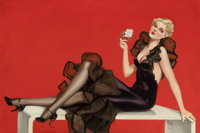 ALBERTO VARGAS (American, 1896-1982) Varga Girl (Elegant Lady in Black), circa 1920s-30s Oil on boar
