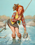 Pin-up and Glamour Art, VAUGHAN ALDEN BASS (American, 20th Century). A Double Catch,Louis F. Dow Calendar Company illustration, circa 1950. Oil...