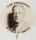 Political:Pinback Buttons (1896-present), Al Smith: Large Real Photo Picture Pin....
