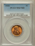 Lincoln Cents: , 1934 1C MS67 Red PCGS. PCGS Population (277/8). NGC Census:(394/3). Mintage: 219,080,000. Numismedia Wsl. Price for proble...