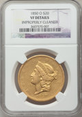 Liberty Double Eagles, 1850-O $20 -- Improperly Cleaned -- NGC Details. VF. Variety 2....