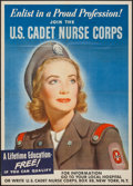 "Movie Posters:War, World War II Propaganda (U.S. Government Printing Office, 1942).Poster (20"" X 28"") ""Join the U.S. Cadet Nurse Corps."" War...."