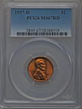 Lincoln Cents, 1957-D 1C MS67 Red PCGS....