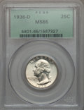 Washington Quarters, 1936-D 25C MS65 PCGS....