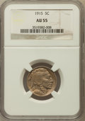 Buffalo Nickels: , 1915 5C AU55 NGC. NGC Census: (17/1294). PCGS Population (26/1904). Mintage: 20,987,270. Numismedia Wsl. Price for problem ...