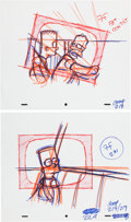 Animation Art:Production Drawing, The Simpsons Animation Production Layout Drawing OriginalArt Group (Fox, undated).... (Total: 2 Original Art)