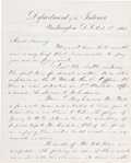 """Autographs:Military Figures, Josiah H. Hobbs Civil War Date Letter With Interesting Political Content Signed """"J. H. Hobbs.""""..."""