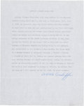 """Autographs:Military Figures, Anthony Clement McAuliffe Typed Biography Signed """"A. C. McAuliffe.""""..."""