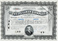 "Autographs:Statesmen, Robert Todd Lincoln Stock Certificate Signed as President of thePullman Company ""Robert T. Lincoln.""..."