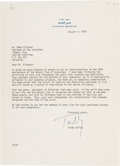 "Autographs:Statesmen, Teddy Kollek Typed Letter Signed as Mayor of Jerusalem""Teddy.""..."