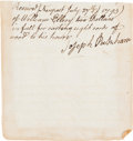 "Autographs:Statesmen, William Ellery, Signer of the Declaration of Independence,Autograph Document Signed ""William Ellery.""..."