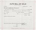 "Autographs:Celebrities, Aviation Pioneer William E. Boeing Document Signed ""W. E. Boeing.""..."