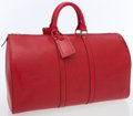 Luxury Accessories:Accessories, Louis Vuitton Red Epi Leather Keepall 45 Weekender Overnight Bag....
