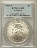 Modern Issues: , 1993-P $1 Jefferson Silver Dollar MS69 PCGS. PCGS Population(3523/320). NGC Census: (1918/630). Mintage: 266,927. Numismed...