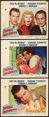 """Double Indemnity (Paramount, 1944). Lobby Cards (3) (11"""" X 14""""). ... (Total: 3 Items)"""