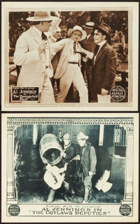 "Al Jennings in The Unexpected Shot & Other Lot (Capital Film Co., 1919). Lobby Cards (2) (11"" X 14"")..."