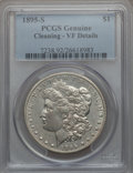 Morgan Dollars: , 1895-S $1 -- Cleaned -- PCGS Genuine. VF Details. NGC Census:(48/1438). PCGS Population (129/2396). Mintage: 400,000. Numi...