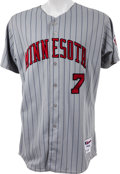 Baseball Collectibles:Uniforms, 2007 Joe Mauer Game Worn Minnesota Twins Jersey. ...