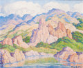 Silver Holloware, South American, BIRGER SANDZÉN (American, 1871-1954). In the Mountains, Colorado(Rocky Mountain National Park), 1945. Oil on masonite. ...